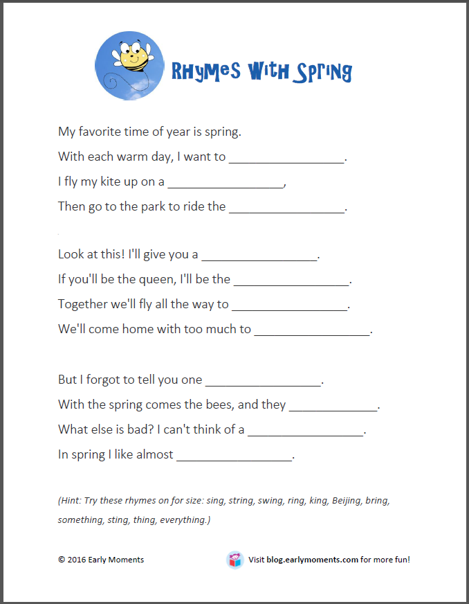 Fill-in-the-Blank Poem (Printable) for National Poetry Month