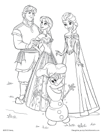 Elsa_Anna_Kristoff_Olaf_coloring_page