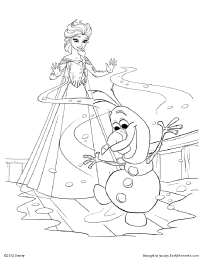 Elsa_Olaf_coloring_page