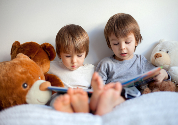 Two little boys reading to their teddy bears in their cozy reading nook.