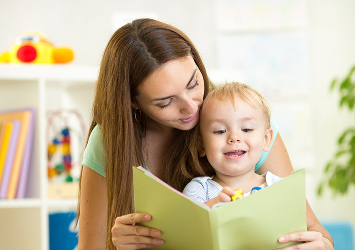 mother reading a favorite toddler book to her child