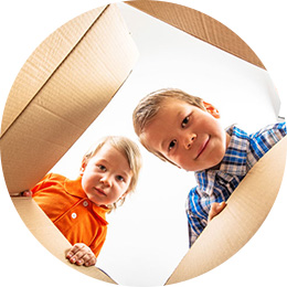 kids playing with a box