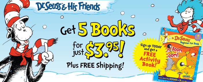 Dr Seuss and his friends offer - 5 Books for $3.95 plus free shipping and free activity book!