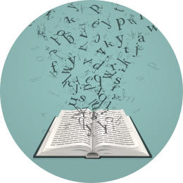 Letters flying out of a book