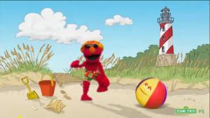 Elmo Dancing on the Beach