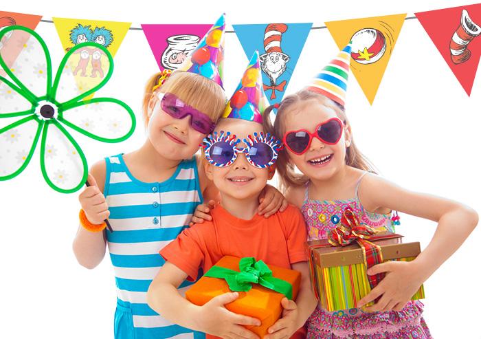Boys and girls celebrating Dr. Seuss's birthday