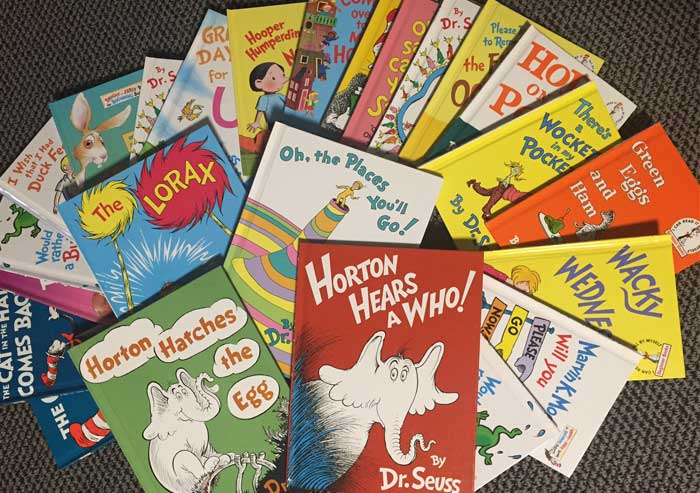 big pile of Dr. Seuss books
