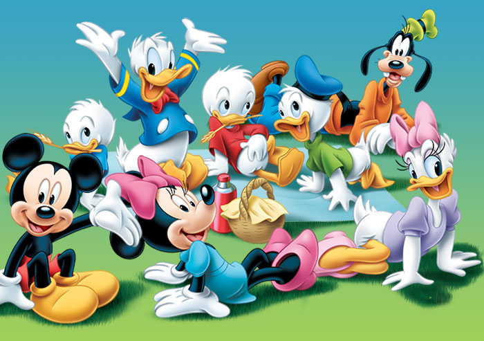 Disney characters including Mickey Mouse, Minnie Mouse, Donald Duck, Daisy, and Goofy