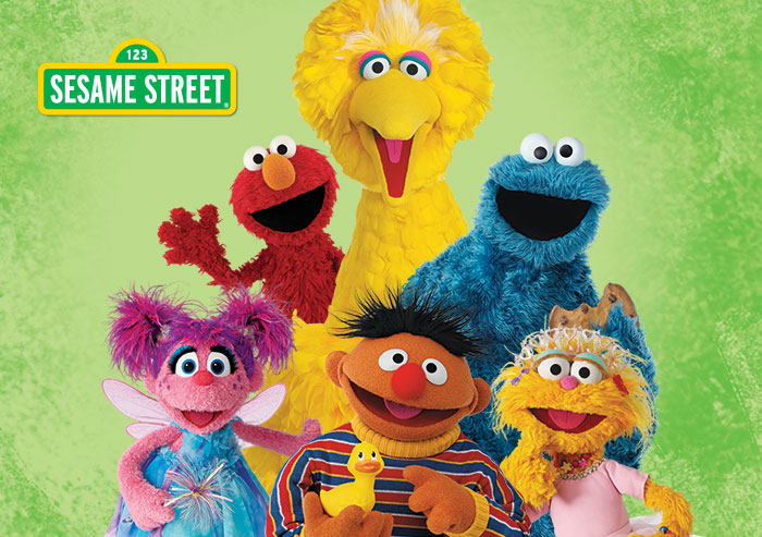 Sesame Street Muppets Abby, Ernie, Zoe, Elmo, Cookie Monster, Big Bird