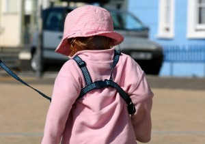 Toddler on a leash